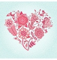 greeting card with Heart of flowers vector image