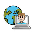 student class online in the laptop and global vector image