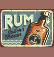 rum vintage tin sign vector image vector image