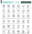 3d modeling and printing thin line web icons set vector image