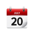 July 20 flat daily calendar icon Date vector image