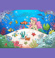 cute cartoon mermaid underwater world vector image