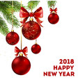 happy new year 2018 holiday poster with spruce vector image