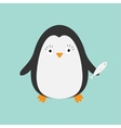 Penguin with fish Cute cartoon character Arctic vector image