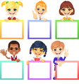 Smiling happy smile kids with colorful banners vector image