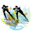 speed ice skaters at colorful ice rink vector image