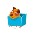 Puppy Hiding In Box Surrounded By Apple Cores vector image