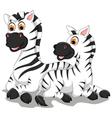 funny zebra cartoon with her baby vector image vector image