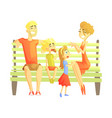 parents son and daughter sitting on park bench vector image