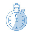 blue shading silhouette cartoon stopwatch icon vector image