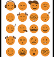 icons set 20 emotional and kids smiles vector image