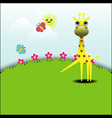 Cute giraffe standing in grassland vector image