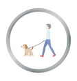 Dog walk icon in cartoon style for web vector image