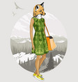 fashion hipster fox on forest background vector image