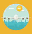 plane flying over urban city vector image