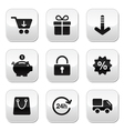 Shopping buttons for website online store vector image