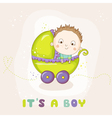 Cute Baby Boy in a Carriage - Baby Shower vector image