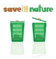 green basket with meassage vector image
