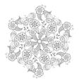Mendie Mandala with butterflies flowers and vector image