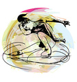 woman ice skater skating at colorful sports arena vector image