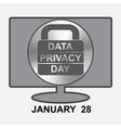 Data Privacy Day Computer with sign lock vector image