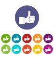 Thumb up gesture set icons vector image