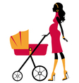 Pregnant woman with baby stroller vector image