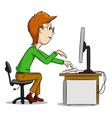 cartoon computer boy vector image