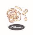 hand drawn pasta fettuccine isolated on white vector image