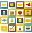 shop navigation foods icons set flat style vector image