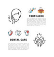 toothache icons dental care card dentistry thin vector image