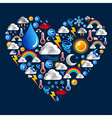 Weather icons heart shape vector image