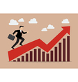 Business man running on growing graph vector image