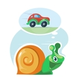 Fast speedy snail dreams to move as the cars vector image
