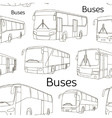 Bus icons set pattern vector image