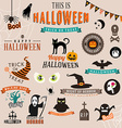 Set of Happy Halloween symbols and decoration vector image