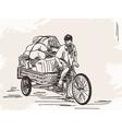 Sketch of cycle rickshaw vector image
