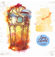 Watercolor cocktail long island ice tea sketch vector image