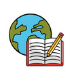 global planet with open notebook and pencils vector image