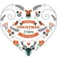Christmas design heart with birds elements ribbons vector image vector image