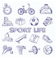 Icon set fitness hand drawn style vector image
