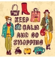 Vintage shopping woman color plate vector image