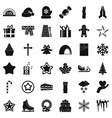 christmas ornament icons set simple style vector image