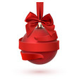 christmas tree decoration with red bow and ribbon vector image