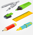 Isometric pair of compasses fountain pen pencil vector image