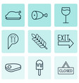 set of 9 meal icons includes fried poultry check vector image