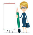 woman holding a pencil and stands near a blank vector image