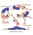 women silhouette monkey yoga pose hanumanasana vector image