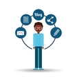Man afroamerican standing with social network icon vector image