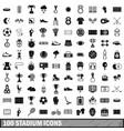 100 stadium icons set simple style vector image